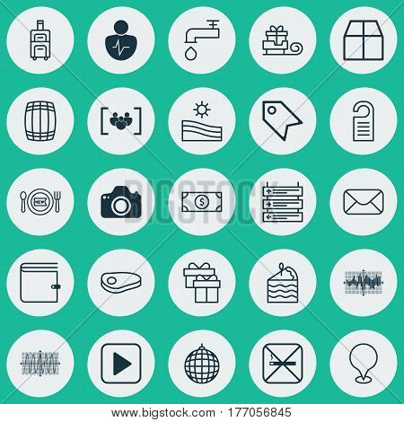 Set Of 25 Universal Editable Icons. Can Be Used For Web, Mobile And App Design. Includes Elements Such As Message, Meadow, Present And More.