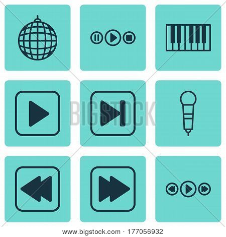 Set Of 9 Music Icons. Includes Song UI, Dance Club, Skip Song And Other Symbols. Beautiful Design Elements.