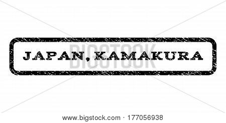 Japan Kamakura watermark stamp. Text caption inside rounded rectangle frame with grunge design style. Rubber seal stamp with dirty texture. Vector black ink imprint on a white background.