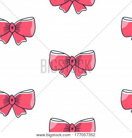 Seamless pattern with pink bows on a white background. Vector illustration.