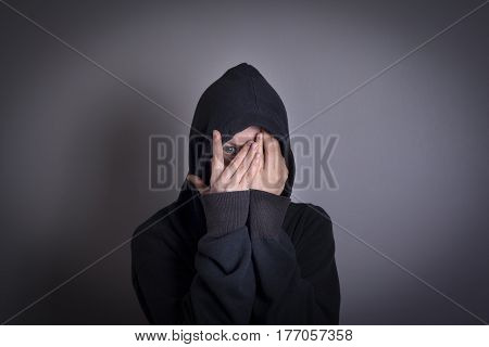 Woman covering face and crying, Depression and Mental Health Concept.