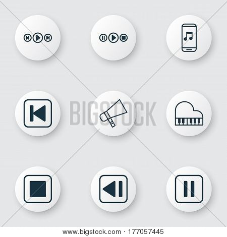 Set Of 9 Audio Icons. Includes Audio Buttons, Octave, Run Song Back And Other Symbols. Beautiful Design Elements.
