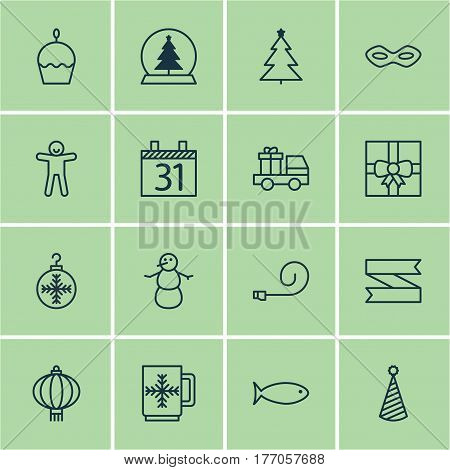 Set Of 16 New Year Icons. Includes Lorry Birthday, Gift Surprise, Carnival Face And Other Symbols. Beautiful Design Elements.