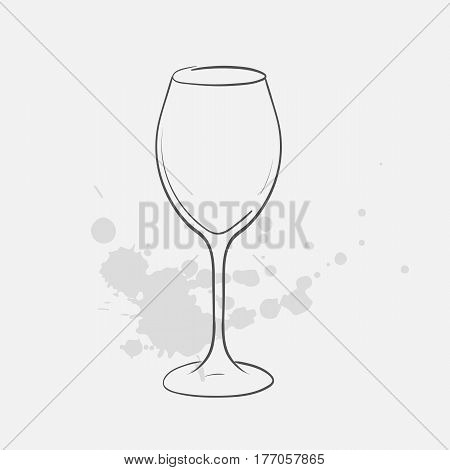 white wine glass hand drawn icon - vector illustration