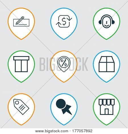 Set Of 9 Ecommerce Icons. Includes Cardboard, Employee, Money Transfer And Other Symbols. Beautiful Design Elements.
