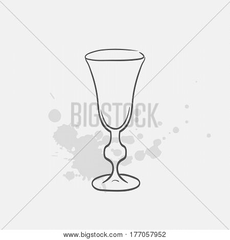 sherry glass hand drawn icon - vector illustration