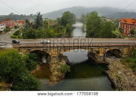 Image of stone bridge in Cangas de Onis in Asturias, Spain