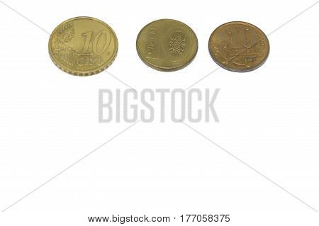 Coins On White Background.