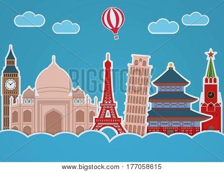 World landmarks made of paper. 3D rendering