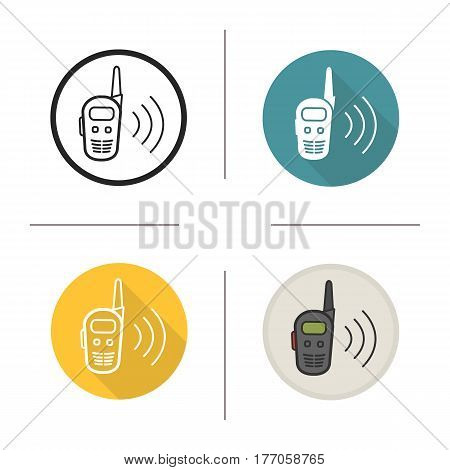 Walkie talkie icon. Flat design, linear and color styles. Radio transceiver. Isolated vector illustrations