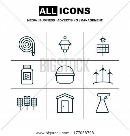 Set Of 9 Gardening Icons. Includes Sun Power, Package, Wheat And Other Symbols. Beautiful Design Elements.