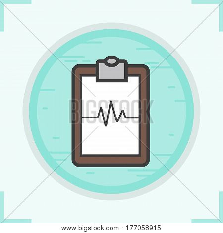 Cardiogram clipboard color icon. Heart monitor. Ecg. Isolated vector illustration