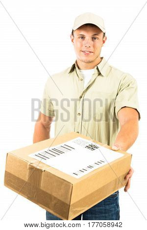 a studio shot of a delivery person, isolated on white. all barcodes on the parcel are generated by myself and contain no useful data.