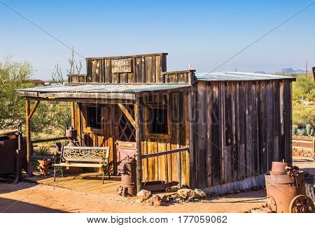 Vintage Wooden Assay Office In Arizona Desert