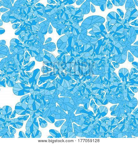 Bright seamless pattern with abstract ice flowers. Vector illustration
