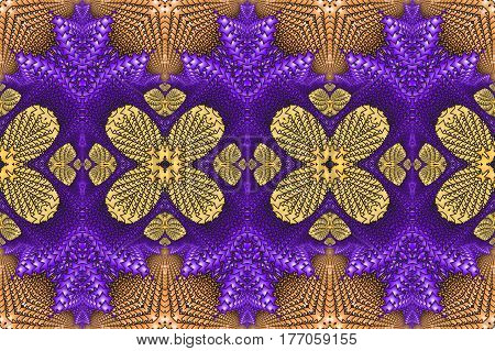 Kaleidoscopic purple and yellow seamless pattern is computer graphics and it can be used in the design of textiles in the printing industry in a variety of design projects.