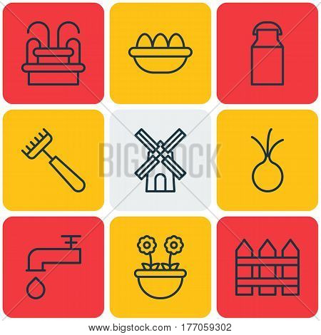 Set Of 9 Farm Icons. Includes Barrier, Mill, Jug And Other Symbols. Beautiful Design Elements.