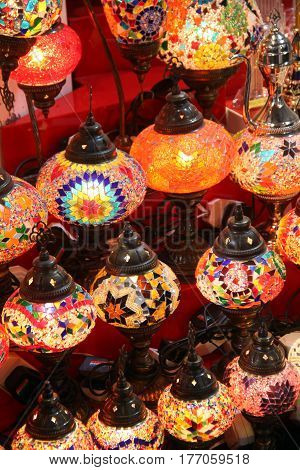 Beautiful traditional lamps hand painted painted with bright colors in traditional Arabic design.
