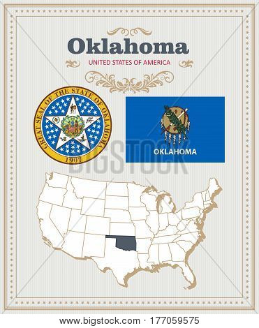 High detailed vector set with flag, coat of arms, map of Oklahoma. American poster. Greeting card from United States of America. Colorful design
