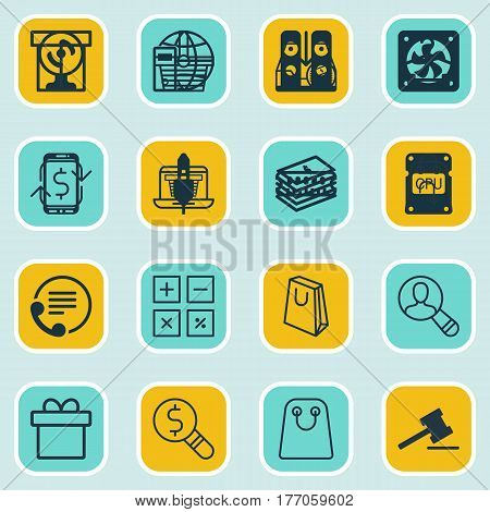 Set Of 16 Ecommerce Icons. Includes Dollar Banknote, Business Inspection, Telephone And Other Symbols. Beautiful Design Elements.
