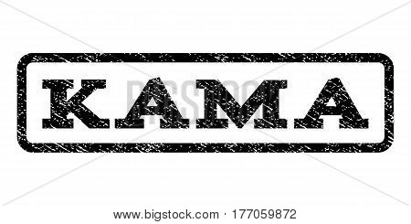 Kama watermark stamp. Text tag inside rounded rectangle frame with grunge design style. Rubber seal stamp with dirty texture. Vector black ink imprint on a white background.