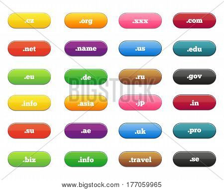 Big set of round rectangle shiny button with domain names of different countries and site designations like eu info com name net uk net etc.