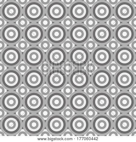 Seamless greyscale pattern made by circles in greyscale shades of grey