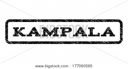 Kampala watermark stamp. Text caption inside rounded rectangle frame with grunge design style. Rubber seal stamp with dirty texture. Vector black ink imprint on a white background.