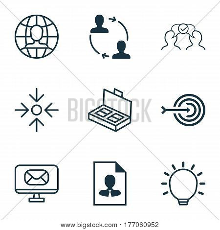 Set Of 9 Business Management Icons. Includes Great Glimpse, Global Work, Cooperation And Other Symbols. Beautiful Design Elements.