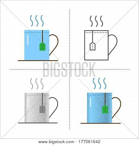 Set of cup with hot drink icons in different styles: retro, flat, thin line, black and white with vintage texture. Mug with tea bag. Vector illustration isolated on white background.