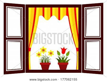 vector daffodils and tulips in the window
