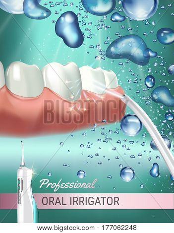 Electric Oral Irrigator ads. Vector 3d Illustration with Portable Water Pick Flosser. Poster with high tech products.