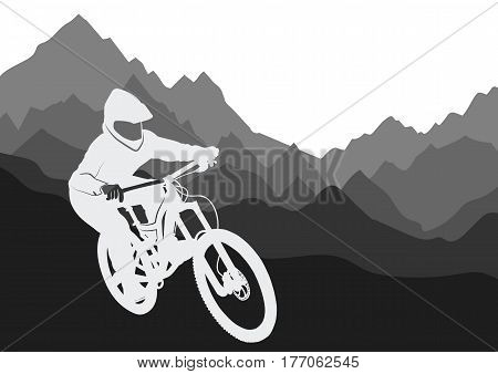 Silhouette of a racer descending on a bicycle on a mountainside - vector