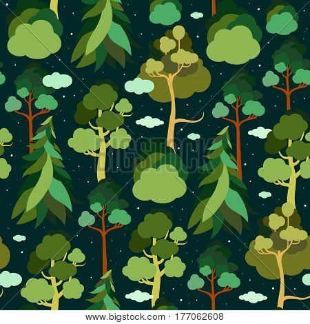Earth Day. Seamless pattern with trees and clouds in the background of the starry sky. Pine, spruce, linden, birch. Ecology. Vector illustration.