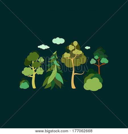 Earth Day. Forest. A set of trees. Spruce, pine, linden, birch, bushes. Vector flat design.