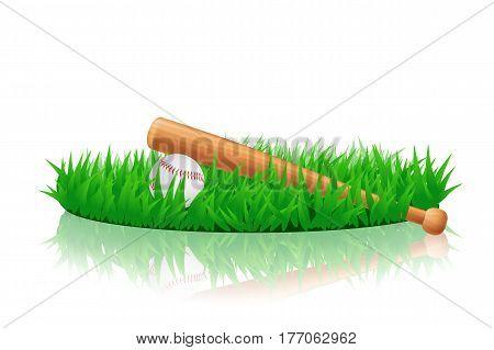 illustration of baseball stuff lying on green grass