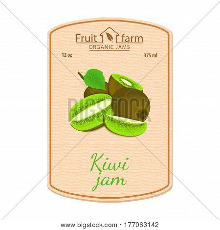 Vector kiwi jam lable. Composition of tropical green kiwi fruits. Design of a sticker for a jar with kiwifruit jam, fruit marmalade juice smoothies. Sticker in retro style with texture for your design.