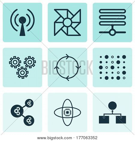 Set Of 9 Machine Learning Icons. Includes Information Base, Mechanism Parts, Analysis Diagram And Other Symbols. Beautiful Design Elements.