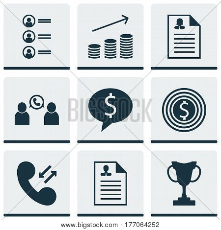 Set Of 9 Human Resources Icons. Includes Job Applicants, Cellular Data, Tournament And Other Symbols. Beautiful Design Elements.