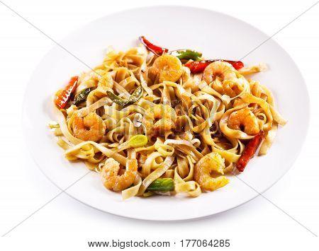 Plate Of Stir Fried Noodles With Shrimps And Vegetables