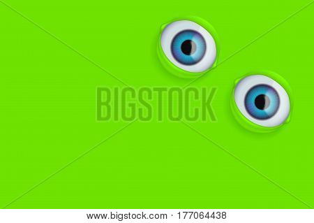 illustration of realistic eye on green background