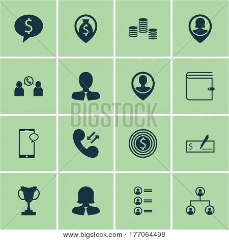 Set Of 16 Hr Icons. Includes Messaging, Job Applicants, Business Woman And Other Symbols. Beautiful Design Elements.