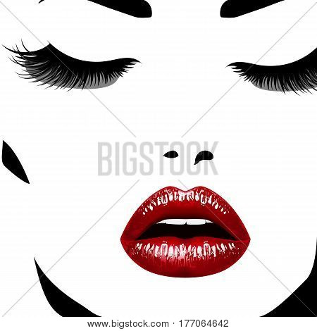 Woman's face. Vectorillustration. Realistic red lips ann chic eyelashes for your design
