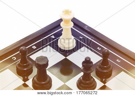 one white king fight team black chess concept business leadership and teamwork