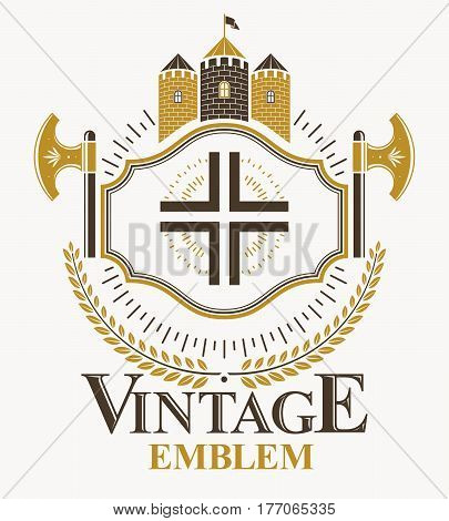 Vector emblem with religious cross and medieval castle created in vintage heraldic design.