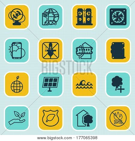 Set Of 16 Eco-Friendly Icons. Includes Fire Banned, Ocean Wave, Save World And Other Symbols. Beautiful Design Elements.
