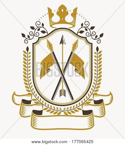 Vector emblem with crown created in vintage heraldic design.
