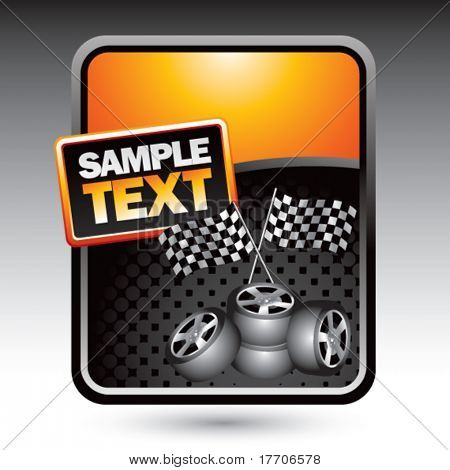racing flags and tires on orange stylized advertisement