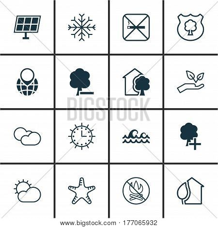 Set Of 16 Eco-Friendly Icons. Includes Clear Climate, Cloud Cumulus, Sea Star And Other Symbols. Beautiful Design Elements.