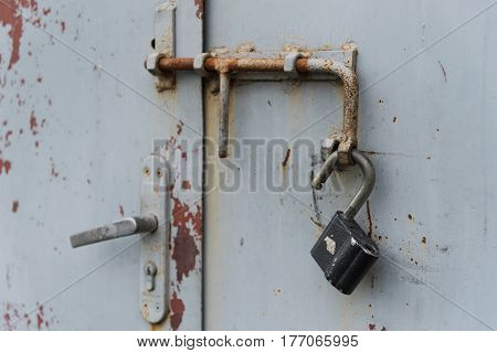 Old Door With Open Padlock Hanging On Latch . Set Of Backgrounds